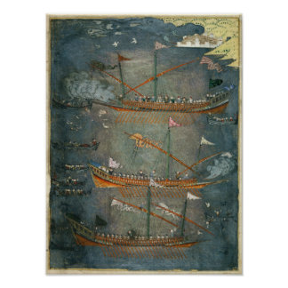 Galeras turcas en la batalla, c.1636 impresiones