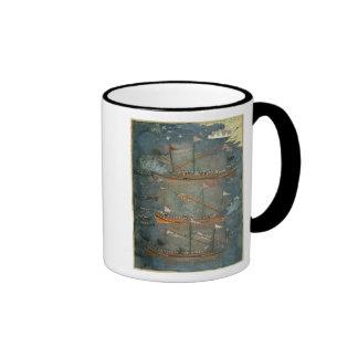 Galeras turcas en la batalla, c.1636 taza de café