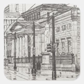 Galería de arte de la ciudad Manchester. 2007 Pegatina Cuadrada