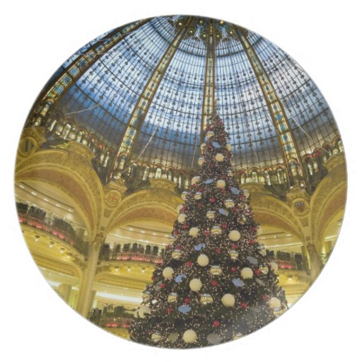 Galeries La Fayette at Christmas, Paris, France Dinner Plate