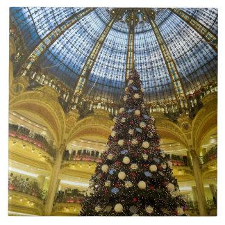 Galeries La Fayette at Christmas, Paris, France Large Square Tile