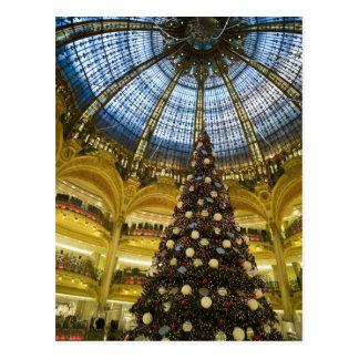 Galeries La Fayette at Christmas Paris France Postcard