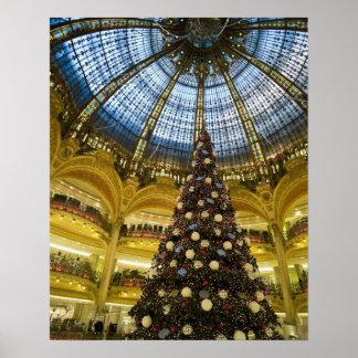 Galeries La Fayette at Christmas, Paris, France Print