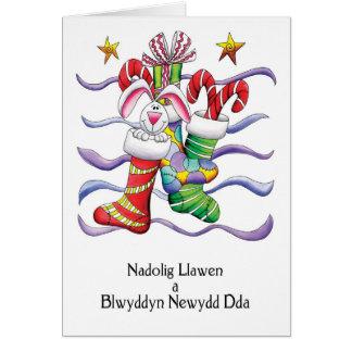 Galés - navidad que almacena con el conejo y los tarjeta de felicitación