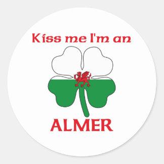 Galés personalizado me besa que soy Almer Pegatina Redonda