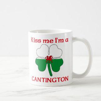 Galés personalizado me besa que soy Cantington Taza Básica Blanca