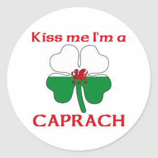 Galés personalizado me besa que soy Caprach Pegatina Redonda