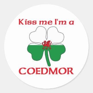 Galés personalizado me besa que soy Coedmor Pegatinas Redondas