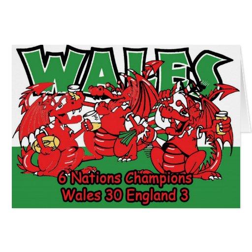 Galés seis campeones del rugbi de la nación, W 30- Tarjetón
