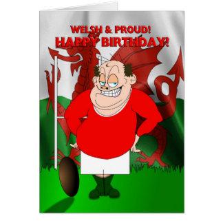 Galés y tarjeta de cumpleaños orgullosa del rugbi