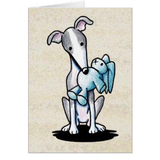 Galgo con el juguete del conejo tarjeta de felicitación
