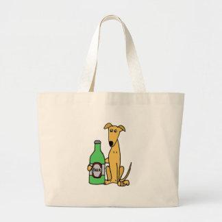 Galgo con la botella de cerveza bolsa tela grande