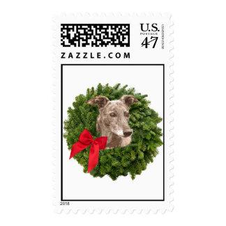 Galgo en guirnalda de Navidad Sello Postal