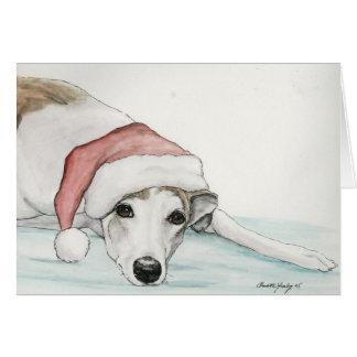 """""""Galgo en tarjeta de Navidad del arte del perro"""