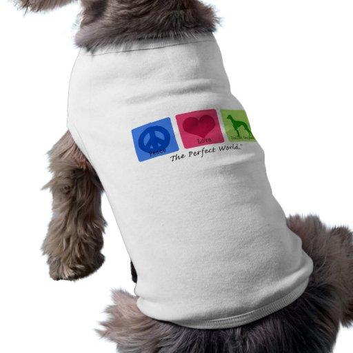 Galgo italiano del amor de la paz camisas de perritos