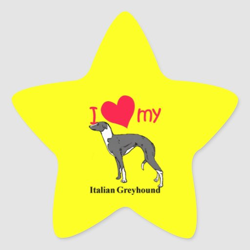 Galgo italiano (Iggy) Pegatina En Forma De Estrella