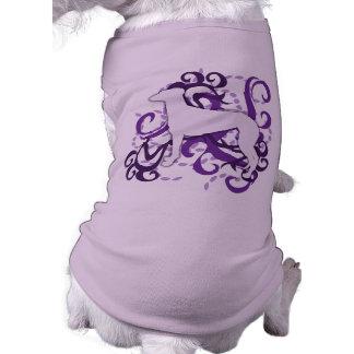 Galgo púrpura del remolino playera sin mangas para perro
