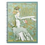 Galgo y señora de Nouveau del arte con la flor Libro De Apuntes