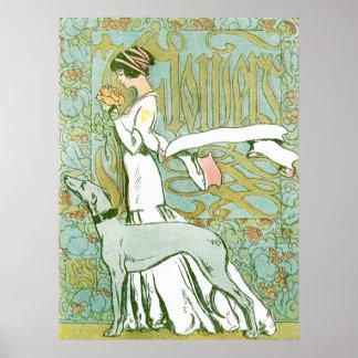 Galgo y señora de Nouveau del arte con la flor Póster