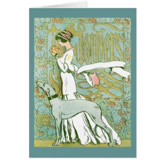 Galgo y señora de Nouveau del arte con la flor Tarjeta De Felicitación