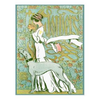 Galgo y señora de Nouveau del arte con la flor Postal