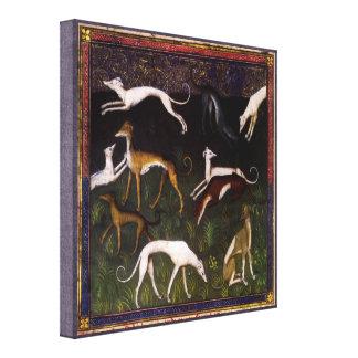 Galgos medievales en el bosque lona estirada galerias