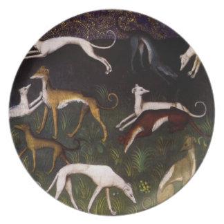 Galgos medievales en las maderas profundas platos de comidas