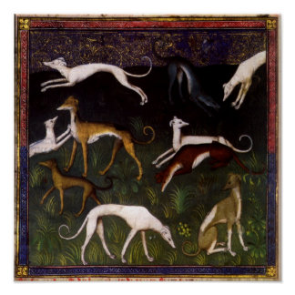 Galgos medievales en las maderas profundas póster