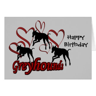 Galgos y tarjeta de cumpleaños roja del perro de l