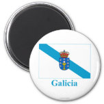 Galicia flag with name 2 inch round magnet
