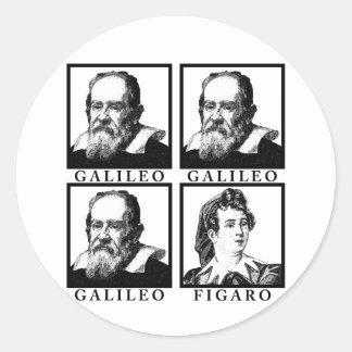 Galileo Figaro BW Pegatina Redonda