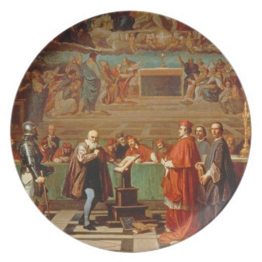 Galileo Galilei (1564-1642) antes de miembros del Plato De Cena