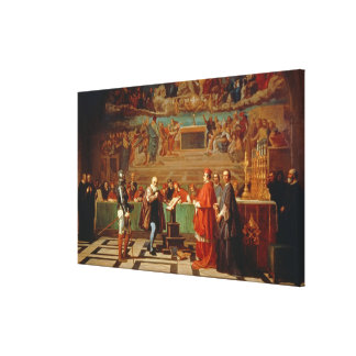 Galileo Galilei (1564-1642) before members of the Gallery Wrap Canvas