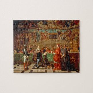 Galileo Galilei (1564-1642) before members of the Jigsaw Puzzle