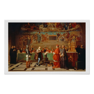 Galileo Galilei (1564-1642) before members of the Poster