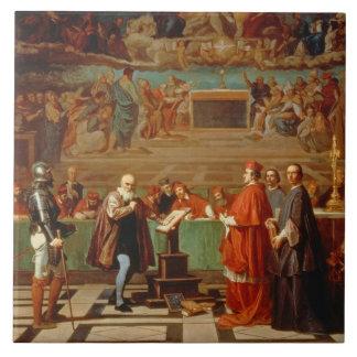 Galileo Galilei (1564-1642) before members of the Tile