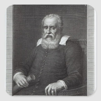 Galileo Galilei Calcomanía Cuadrada
