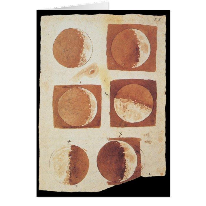 Galileo moon phases 1616 card