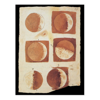 Galileo moon phases 1616 post card