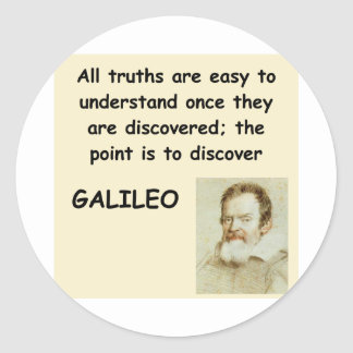 galileo quote classic round sticker