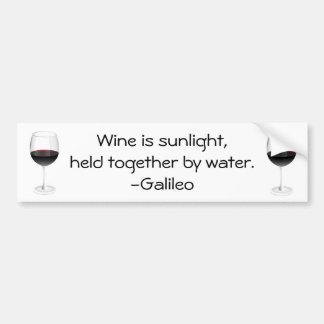Galileo Wine Quote Bumper Sticker