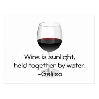 Galileo Wine Quote Postcard