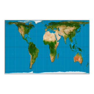 Gall–Peters Corrected World Map Projection Poster