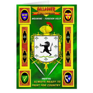 GALLAGHER FAMILY COAT OF ARMS CREST AND SHIELD GREETING CARD