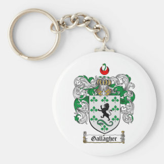 GALLAGHER FAMILY CREST -  GALLAGHER COAT OF ARMS BASIC ROUND BUTTON KEYCHAIN