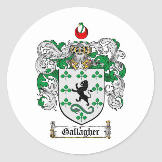 GALLAGHER FAMILY CREST -  GALLAGHER COAT OF ARMS CLASSIC ROUND STICKER