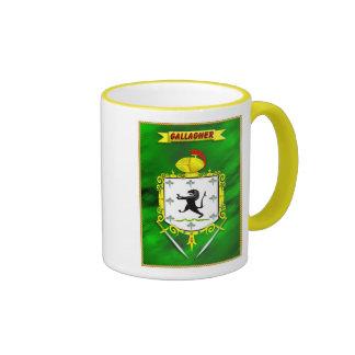 GALLAGHER IRISH FAMILY HERALDIC SHIELD AND CREST RINGER COFFEE MUG