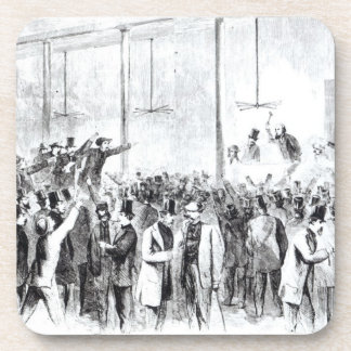 Gallagher's stock exchange (engraving) (b/w photo) coasters