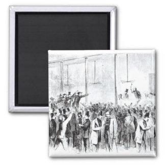 Gallagher's stock exchange (engraving) (b/w photo) fridge magnets