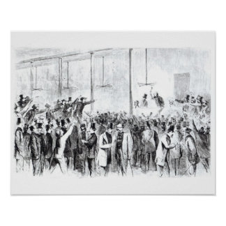 Gallagher's stock exchange (engraving) (b/w photo) poster